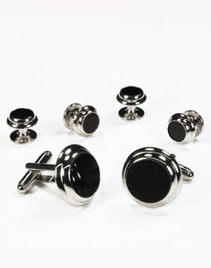 Black Circular Onyx with Silver Double Edge Concentric Circles Studs and Cufflinks Set