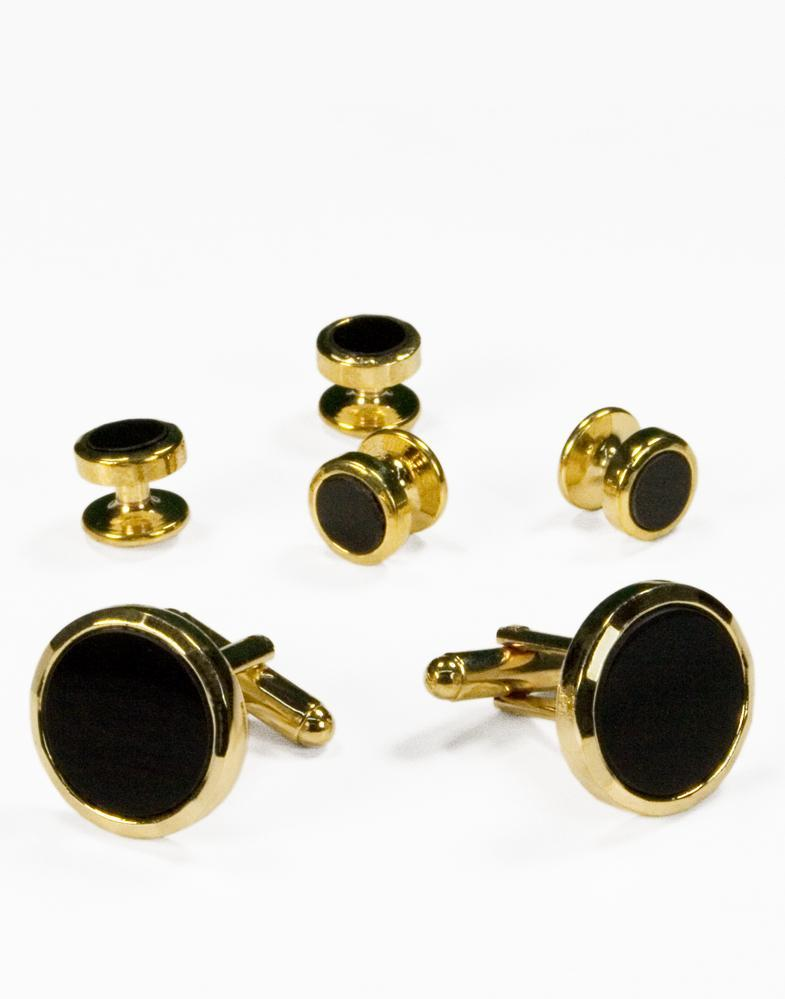 Black Circular Onyx with Gold Facet Cut Edge Studs and Cufflinks Set