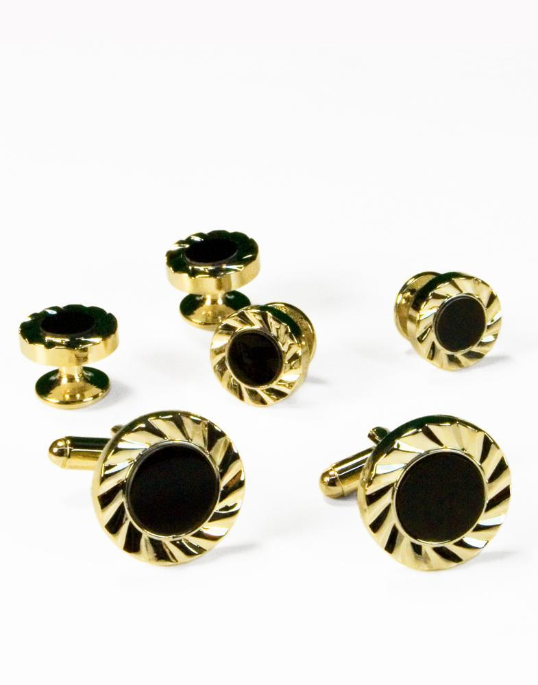 Black Circular Onyx with Gold Fan Cut Edge Studs and Cufflinks Set