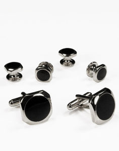 Black Circular Onyx with Silver Octagon Edge Studs and Cufflinks Set