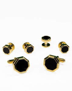 Black Octagon Onyx with Gold Edge Studs and Cufflinks Set