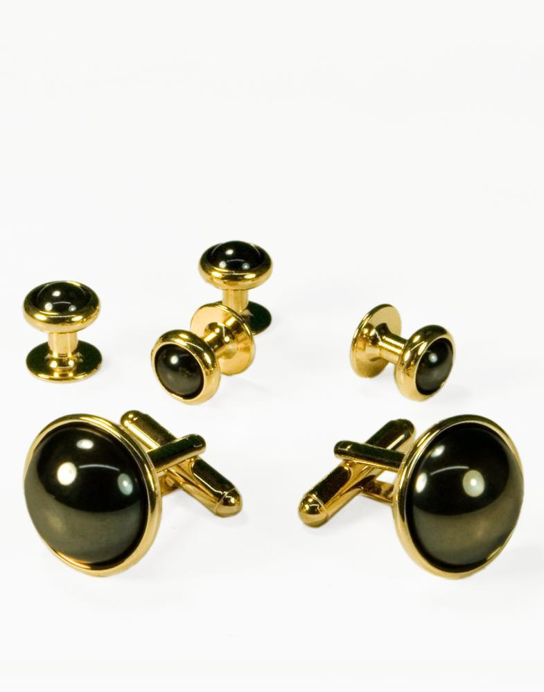 Hematite Dome with Gold Trim Studs and Cufflinks Set