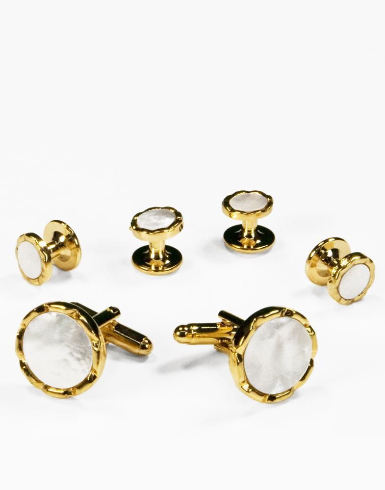 White Circular Mother of Pearl with Gold Diamond Cut Edge Studs and Cufflinks Set