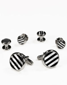 Black & White Circular Onyx and Mother of Pearl Stripes with Silver Trim Studs and Cufflinks Set