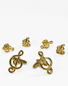 Musical G Clef Gold Studs and Cufflinks Set