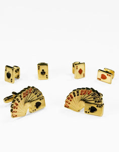 Casino Cards Gold Studs and Cufflinks Set