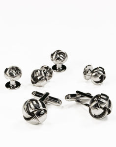 Silver Loveknots Studs and Cufflinks Set