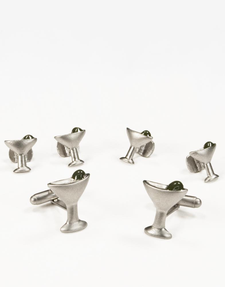 Martini Glasses Silver Studs and Cufflinks Set