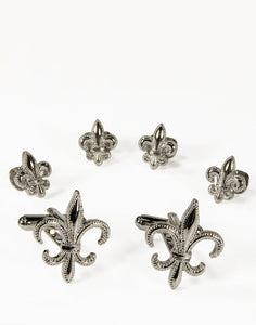 Fleur de Lis Silver Studs and Cufflinks Set