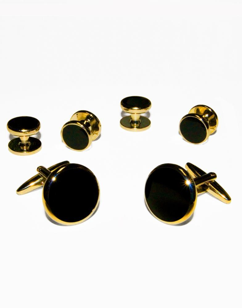 Black Circular Onyx with Gold Trim Studs and Cufflinks Set