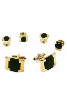 Black Watch Link Onyx with Gold Edge Studs and Cufflinks Set