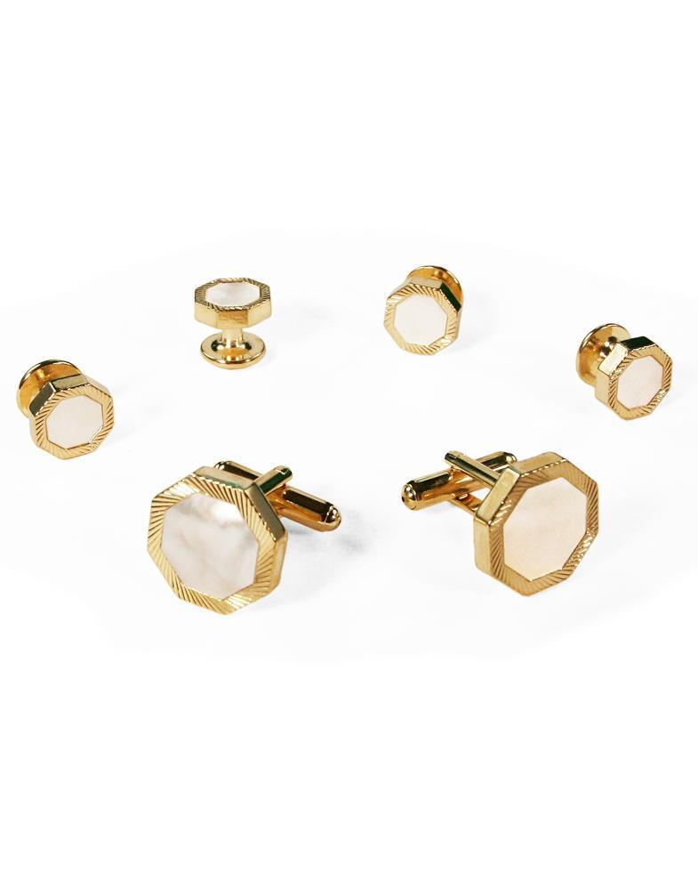 White Octagon Mother of Pearl with Gold Edge Studs and Cufflinks Set