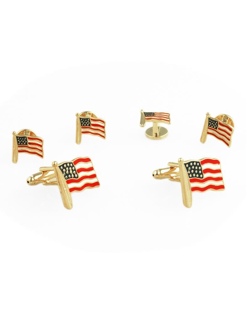 US Flags with Gold Trim Studs and Cufflinks Set