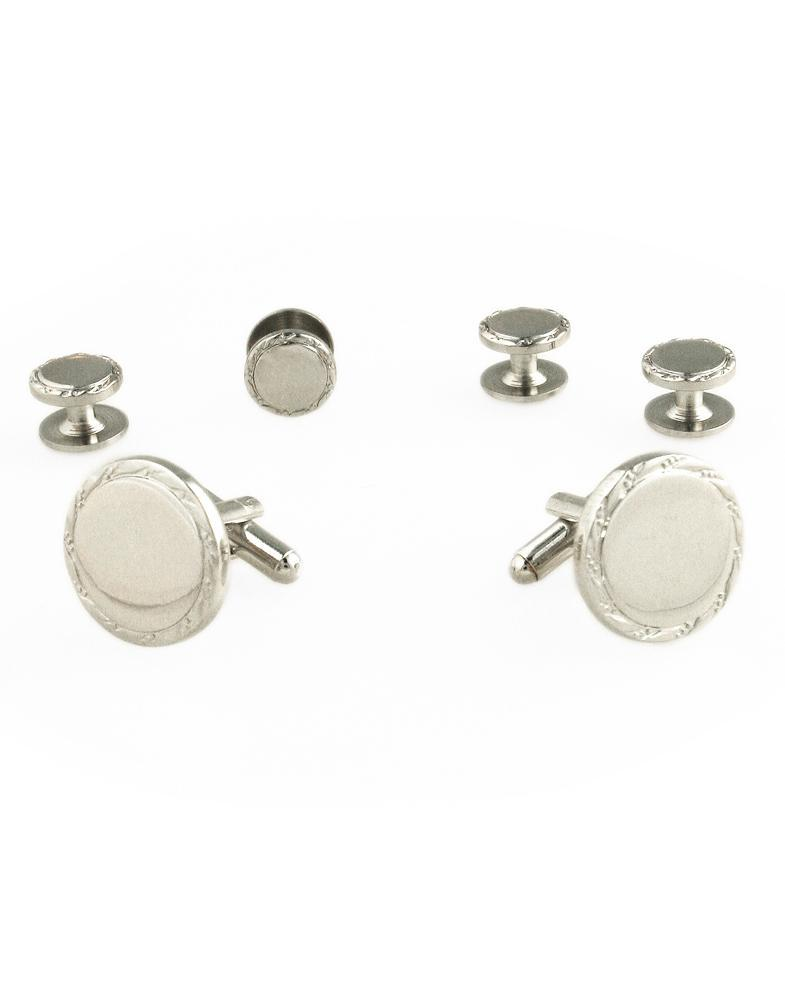 Engravable Silver Studs and Cufflinks Set