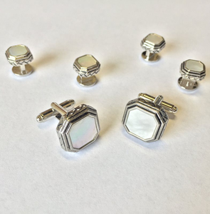 White Octagon Mother of Pearl with Antique Silver Edge Studs and Cufflinks Set
