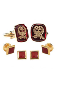 Red Shriner Insignia Studs and Cufflinks Set