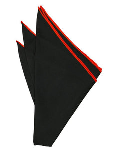 Black Silk with Red Hand Rolled Trim Pocket Square