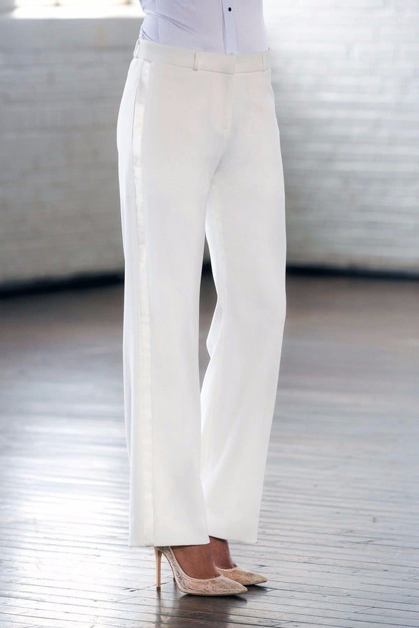 Steinem Diamond White Straight / Wide Fit Tuxedo Pants