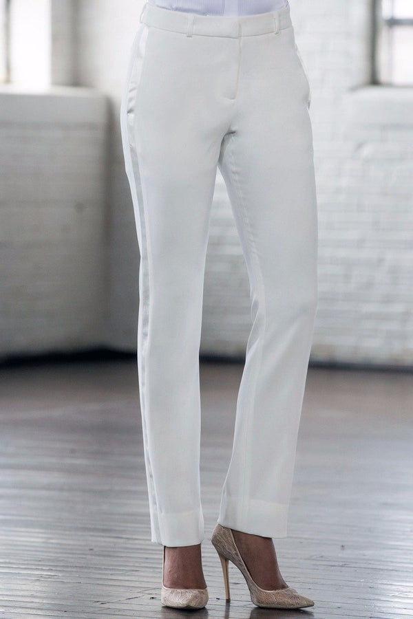 Taylor Diamond White Slim Fit Tuxedo Pants