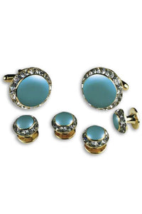 Teal Enamel Rhinestones Border Studs and Cufflinks Set