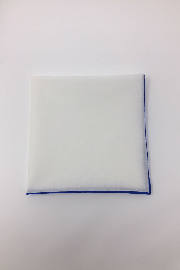 White Cotton with Royal Blue Border Pocket Square