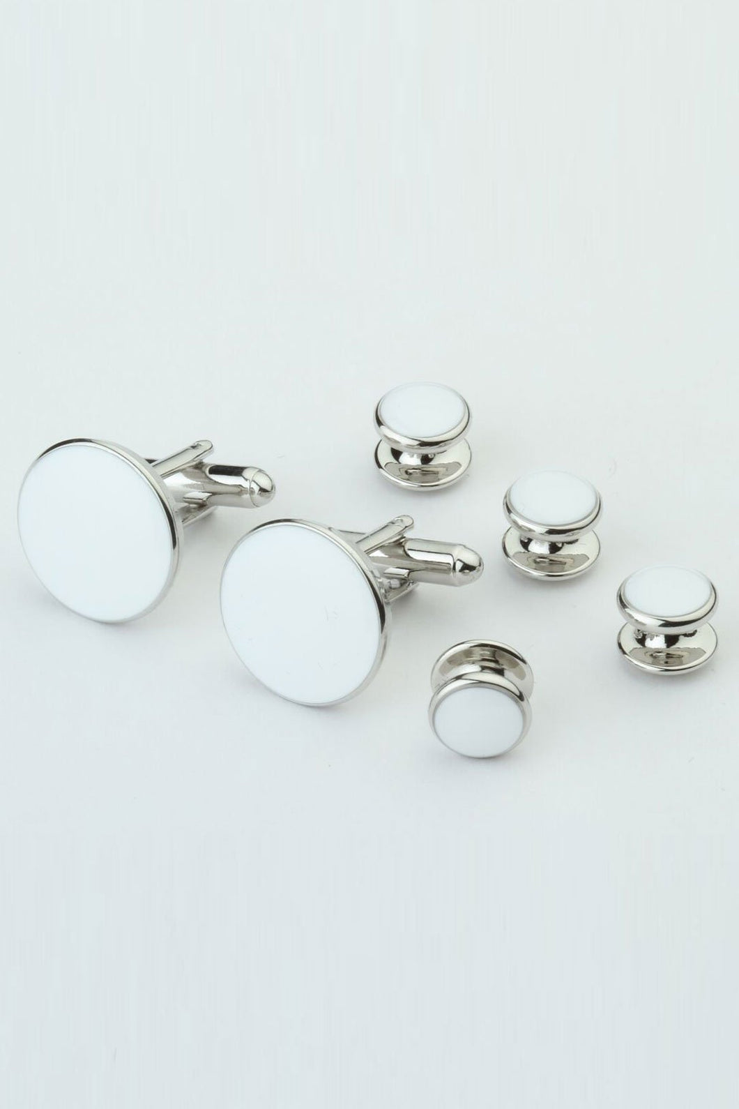 White with Silver Trim Studs and Cufflinks Set