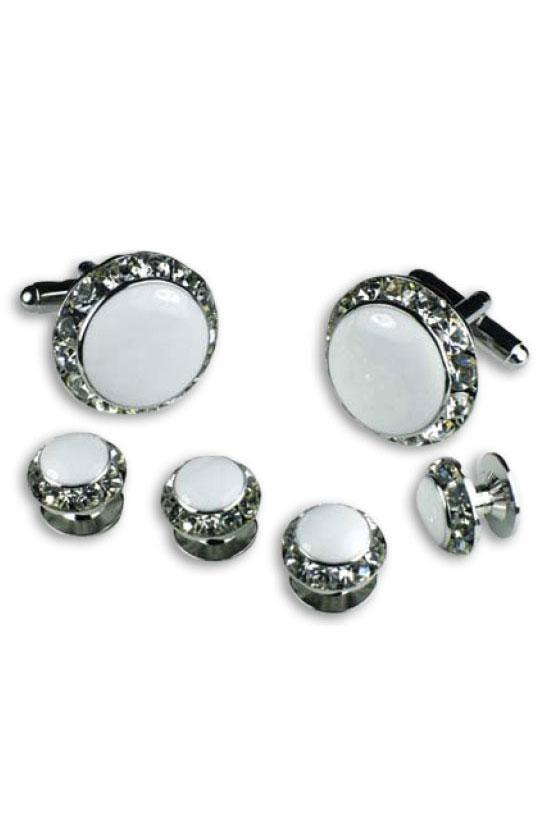 White Enamel Rhinestones Border Studs and Cufflinks Set