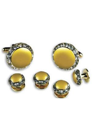 Lemon Enamel Rhinestones Border Studs and Cufflinks Set