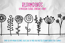 Load image into Gallery viewer, Bloomdings: a font of cute floral dingbats!
