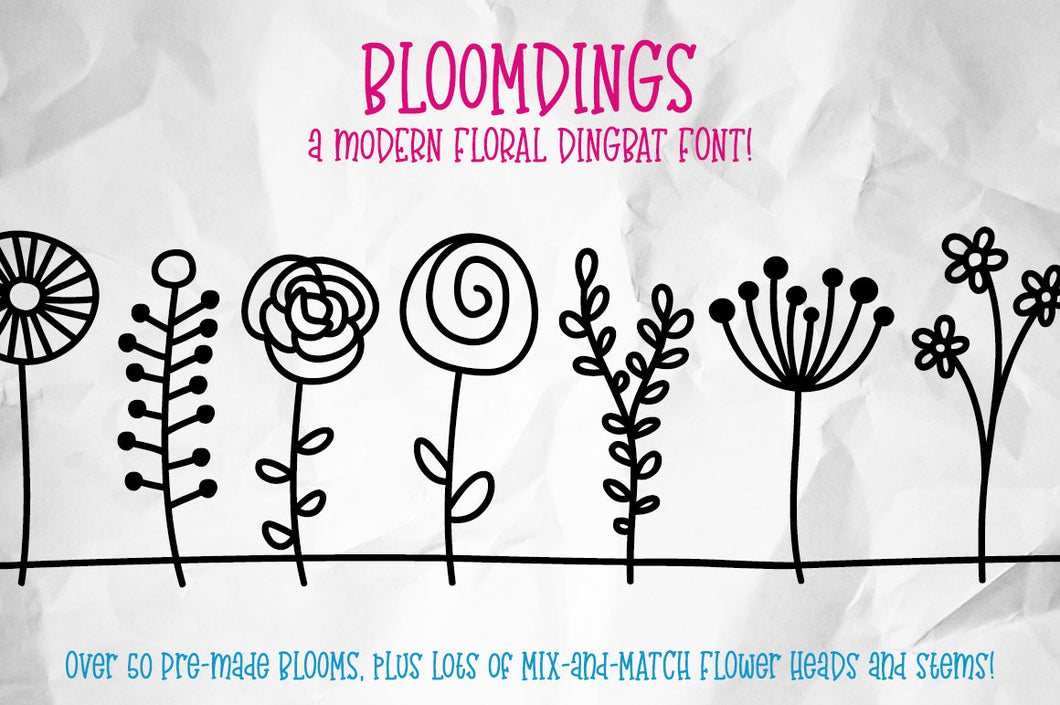Bloomdings: a font of cute floral dingbats!