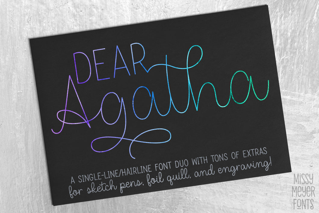 Dear Agatha: a single-line hairline font duo for sketch, quill, and engraving!