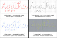 Load image into Gallery viewer, Dear Agatha: a single-line hairline font duo for sketch, quill, and engraving!