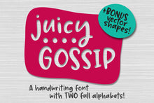 Load image into Gallery viewer, Juicy Gossip: a handwriting font with extras!