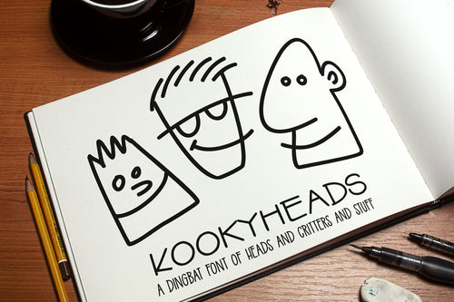 Kookyheads: a dingbat doodle font of faces!