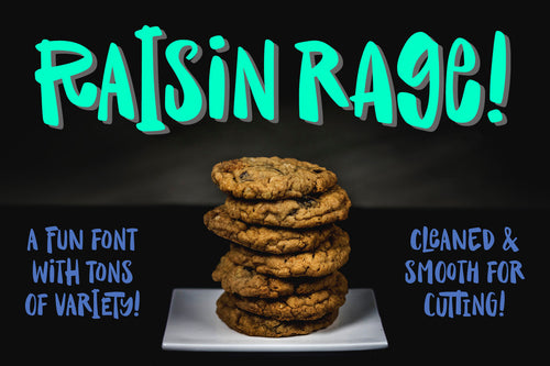 Raisin Rage: a fun casual font with variety!