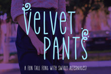 Load image into Gallery viewer, Velvet Pants: a tall, narrow caps font!