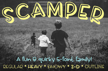 Load image into Gallery viewer, Scamper: a sweet five-font family!