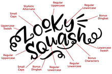 Load image into Gallery viewer, Zooky Squash: a hand-lettering font with alternates galore!