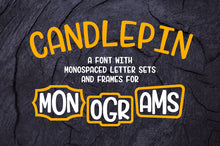 Load image into Gallery viewer, Candlepin: a modern monogram font!