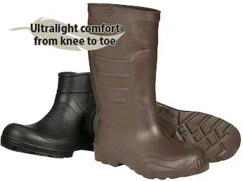 70% Lighter than other waterproof rubber and PVC knee boots