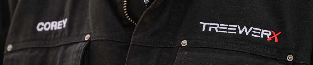 Embroidered name and logo on a button-up shirt