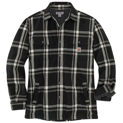 Carhartt TJ452-M Relaxed Fit Flannel Sherpa-Lined Snap-Front Plaid Shirt Jac