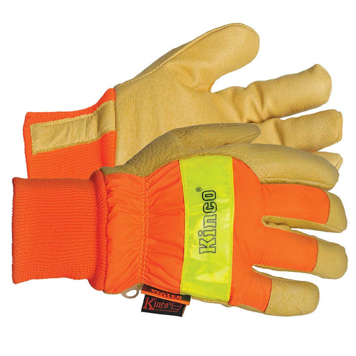 Kinco Insulated Waterproof Pigskin Leather Palm Gloves, Bright Orange