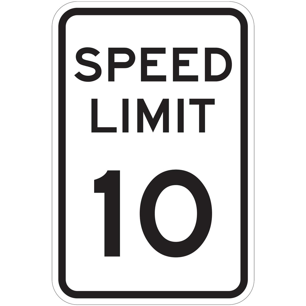 """Speed Limit 10"" Reflective Traffic Control Sign"