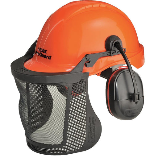 ELVEX ProGuard™ Ventilated Woodsman's Helmet with Steel Mesh Visor