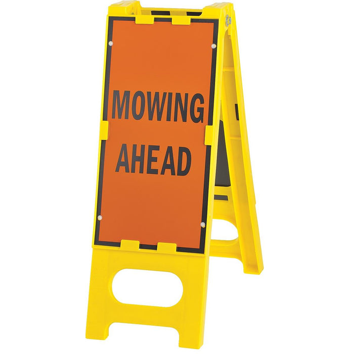 """Mowing Ahead"" Folding Barricade Sign"