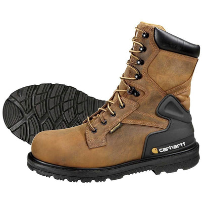"Carhartt 8""H Plain Toe Bison Waterproof Work Boots"