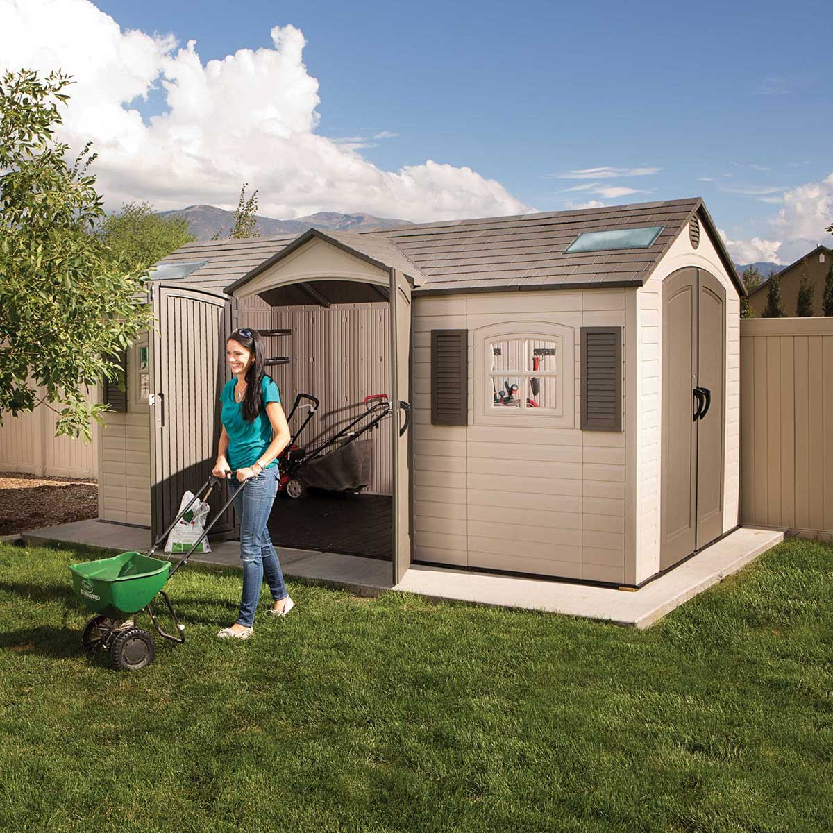 Lifetime 15 Ft. x 8 Ft. Outdoor Storage Shed (Dual Entry)