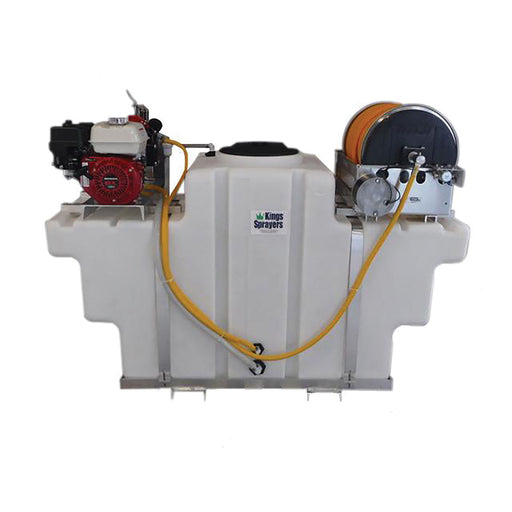 "Kings Sprayer SpaceSaver Skid 200 Gal w/ 10 gpm Pump & Electric Reel w/ 300' 1/2"" ID Hose"