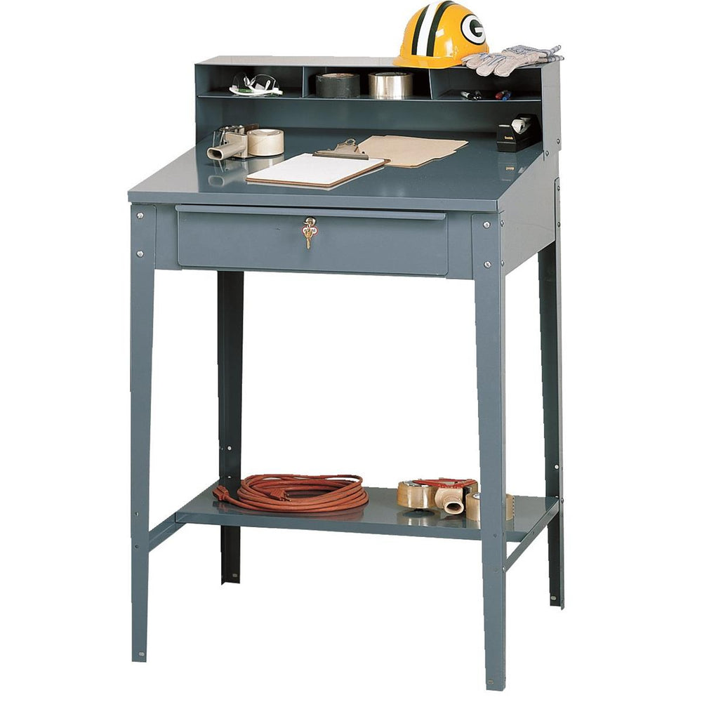 Lockable Steel Shop Desk w/ Open Shelf